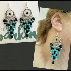 Beaded Black & Turquoise Chandelier Earrings